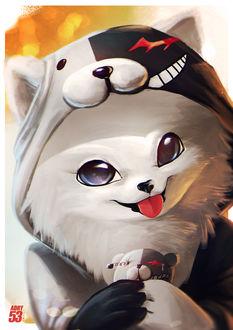 Фото Белый щенок в костюме Монокумы / Monokuma из аниме Школа Отчаяния / Danganronpa, by Adry53