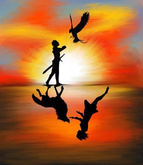 Фото Орел летит навстречу мужчине с мечом, отражаясь в воде, как девушка и волк, by NargilFlameWolf