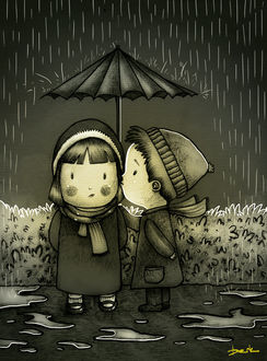 Фото Мальчик целует девочку, прикрыв ее зонтом от дождя, by berkozturk