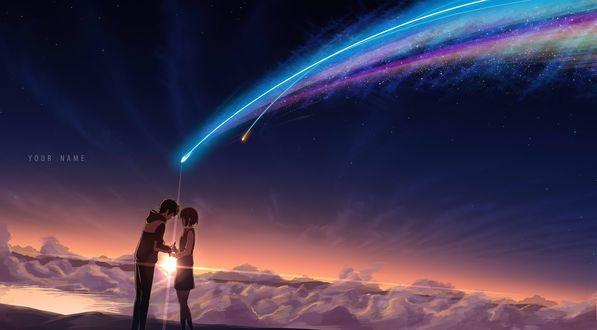 Фото Парень с девушкой - персонажи miyamizu mitsuha и tachibana taki держатся за руки, стоя на фоне светящейся звезды, by masabodo