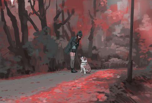 Фото Девушка с собакой стоит на дороге, by snatti89