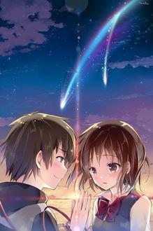 Фото Miyamizu Mitsuha / Миямизу Митсуха и Tachibana Taki / Тачибана Таки из аниме Kimi no Na wa / Твое имя, art by Sousouman