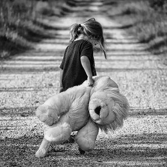 Фото Девочка с мягкой игрушкой в руке идет по дороге