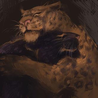 Фото Два леопарда, обнявшись, спят, by Anna Nikolaeva