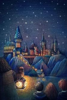 Фото Сказочный город под звездным небом, рисунок Лены Гнедковой