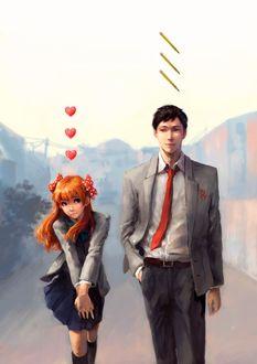 Фото Умэтаро Нозаки / Umetarou Nozaki и Чие Сакура / Chiyo Sakura из аниме Ежемесячное седзе Нозаки-куна / Gekkan Shoujo Nozaki-kun
