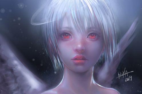 Фото Белокурая девушка-ангел с красными глазами, by HlYA