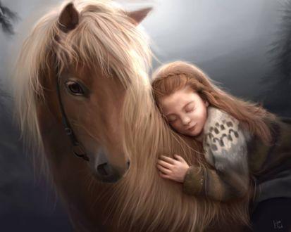 Фото Девочка спит на лошади, by kittenfoodcritic