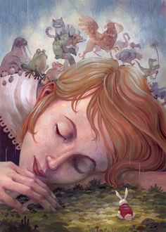 Фото Спящая Алиса с животными на голове, by Biffno