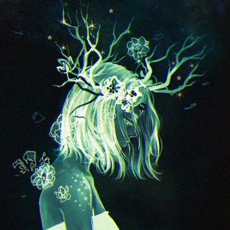 Фото У девушки из головы растут ветки с цветами, by Heylenne