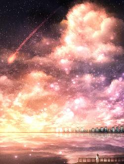 Фото Девушка стоит на мосту на фоне космоса и падающего метеора
