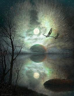 Фото Парень с девушкой парят в воздухе над водой на фоне ночного неба, by Klim Novoseltsev