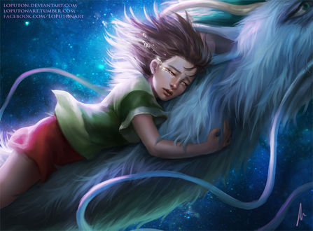 Фото Тихиро / Chihiro и Хаку / Haku из аниме Унесенные Призраками / Spirited Away, by Loputon