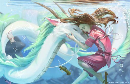 Фото Тихиро / Chihiro, Хаку / Haku и Бо из аниме Унесенные Призраками / Spirited Away, by SourAcid