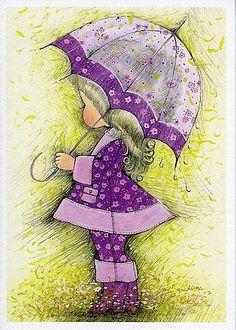 Фото Девочка в сиреневых одежде и обуви, стоит среди полевых цветов, под раскрытым сиреневым зонтиком, прикрывшись от капель дождя, by Chechi