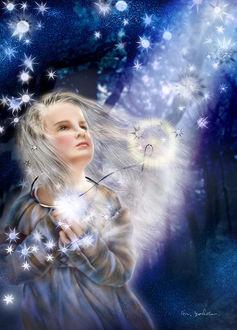 Фото Волшебство вокруг девочки, смотрящей на небо, by Yokota Miharu