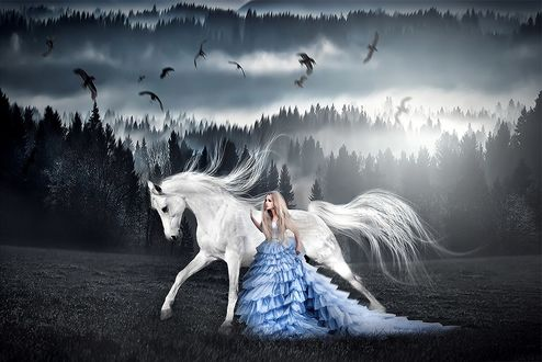 Фото Девушка в голубом платье стоит рядом с белой лошадью