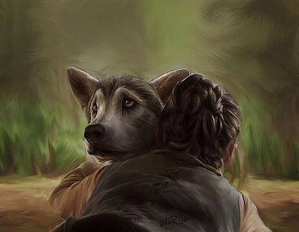 Фото Девочка с нежностью обнимает пса с грустным взглядом, by DaaRia