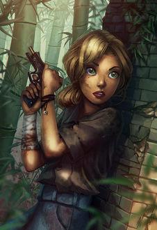 Фото Девушка стоит с пистолетом в руке, by Daria Widermanska