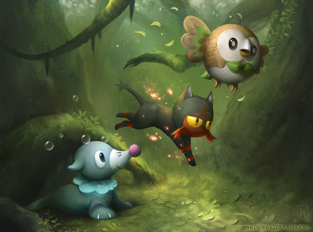 ���� Popplio / �������, Litten / ������ � Rowlet / ������ �� ���� Pokemon / �������, by EternaLegend