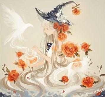 Фото Белокурая ведьмочка выпускает птицу из дыма, by tofuvi