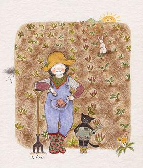 Фото Девочка и кошка после работы в огороде, by S. Lee