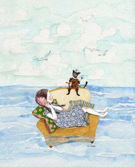 Фото Девочка и кошка плывут по морю на диване, by S. Lee