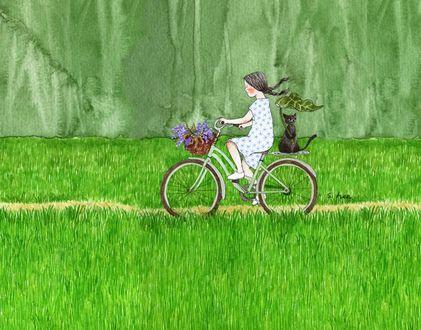 Фото Девочка едет под дождем на велосипеде с кошкой, сидящей на багажнике, by S. Lee
