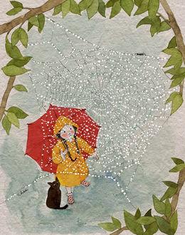 Фото Девочка и кошка смотрят на паутину в капельках дождя, by S. Lee