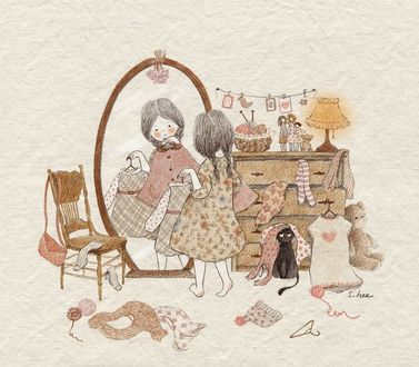 Фото Девочка с кошкой примеряют наряды перед зеркалом, by S. Lee