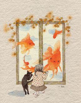 Фото Девочка и кошка смотрят через окно на больших золотых рыбок, by S. Lee