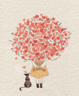 Фото Девочка и кошка с большим букетом сердечек, by S. Lee