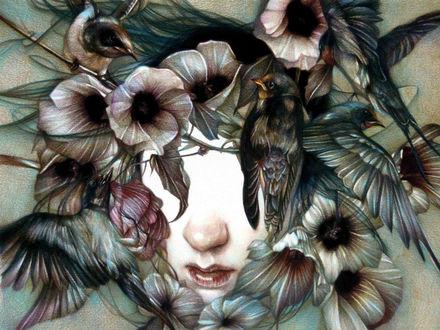 Фото Лицо девушки без глаз, в обрамлении цветов, на которых сидят птички, by Marco Mazzoni