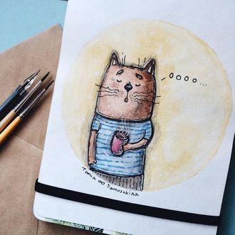 Фото Рисунок кота с кружкой