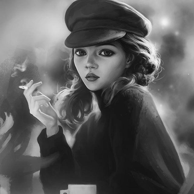 Девушка с сигаретой картинки арт