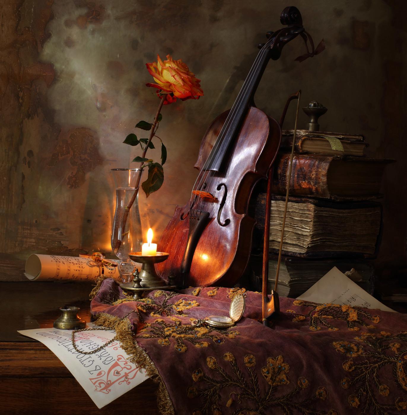 скрипка в фотонатюрмортах вот скрапбукингом