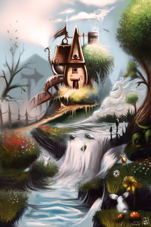 Фото Сказочный домик у водопада, by Yasar VURDEM