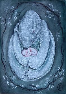 Фото Маленький голенький ребенок спит в объятиях спящей белой медведицы, by Marjolein Caljouw