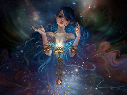 Фото Эльфийка с длинными, синими волосами на фоне космоса, by Luciole