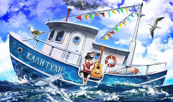 Фото Девочка с гитарой на кораблике Калн Тухн, by pin100