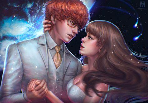 Фото Парень с девушкой смотрят друг другу в глаза, оба стоят на фоне неба, by serafleur