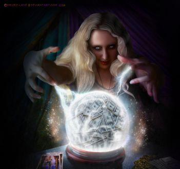 Фото Девушка колдунья проводит сеанс магии над светящимся шаром с денежными купюрами, by Drury-Lane