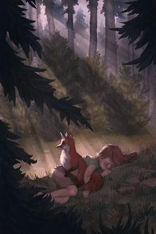 Фото Спящую в траве девочку охраняет лиса, by nonnahs144