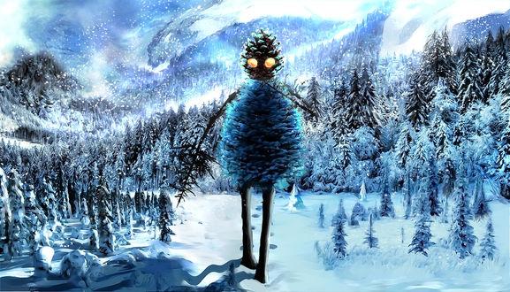 Фото Фантастическое существо с руками и ногами из деревьев, туловищем и головой из шишек, идет по глубокому снегу по лесу, by SaxonSurokov