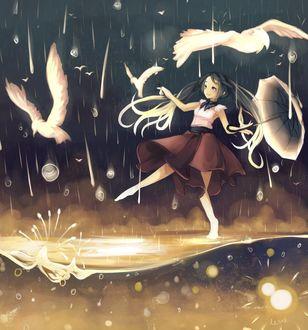 Фото Девушка с раскрытым зонтиком пляшет на воде под дождем с белыми чайками, by Rejuvenesce
