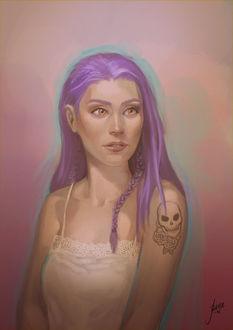 Фото Девушка с розовыми волосами и татуировкой на руке, by JuneJenssen