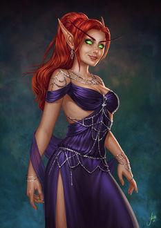 Фото Эльфийка с рыжими волосами в красивом платье / арт на игру World of Warcraft, by JuneJenssen