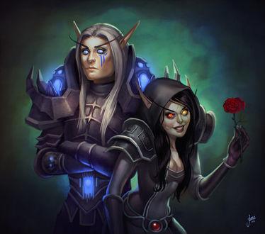 Фото Девушка - эльф держит в руке красную розу рядом с парнем - эльфом / арт на игру World of Warcraft, by JuneJenssen