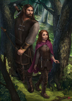 Фото Мужчина с луком в руках и маленькая девочка идут по лесу, by JuneJenssen