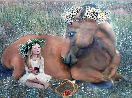 Фото Девочка в веночке из цветов сидит возле лежащей лошади в венке из цветов